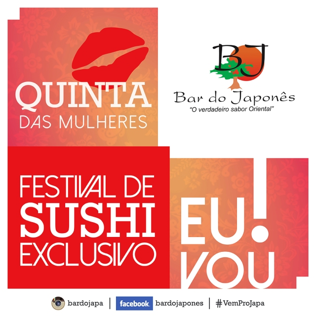Todas as Quintas. Festival de Sushi em Caraguatatuba no Bar do Japonês.